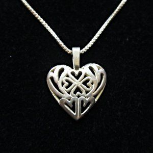 Vintage Sterling Silver Filigree Heart Pendant